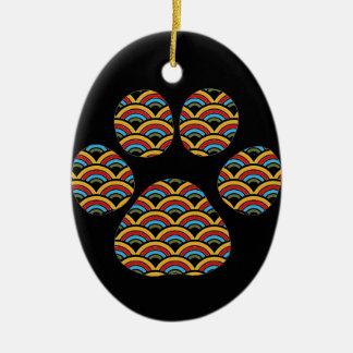 Rainbow Paw Ceramic Ornament