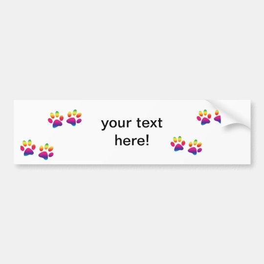 Rainbow Paw Print Bumper Sticker