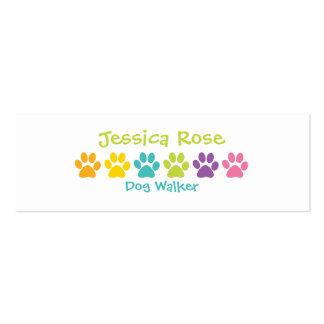 Rainbow Paw Print Dog Walker Business Card Template