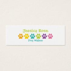 Rainbow Paw Print Dog Walker Mini Business Card at Zazzle