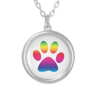 Rainbow Paw Print Round Pendant Necklace