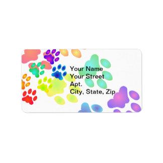 Rainbow Paw Prints Address Label