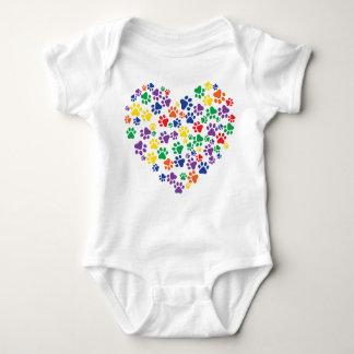 Rainbow Paw Prints Baby Bodysuit