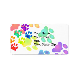 Rainbow Paw Prints Label