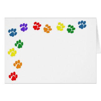 Rainbow Paw Prints Note Card