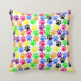 Rainbow Paw Prints Throw Pillow