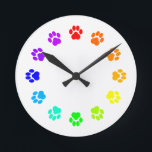 """Rainbow Pawprint Clock<br><div class=""""desc"""">Know someone whose every hour is devoted to their furbabies?  Let them count the hours with a rainbow of pawprints!</div>"""