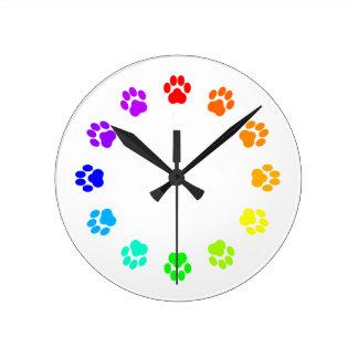 Rainbow Pawprint Clock