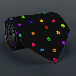"""Rainbow Pawprint Necktie<br><div class=""""desc"""">Perk up boring business meetings with a vibrant tribute to a special fuzzy someone!</div>"""