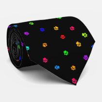 Rainbow Pawprint Necktie