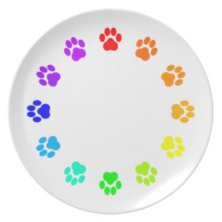 Rainbow Pawprint Plate