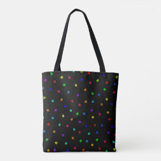 Rainbow Pawprint Tote Bag with Black Background