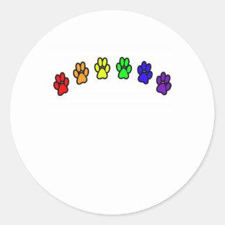 Rainbow Pawprints Classic Round Sticker