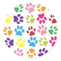 Rainbow Paws Pattern Classic Round Sticker
