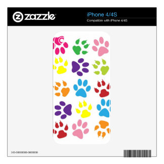 Rainbow Paws Pattern iPhone 4 Decal