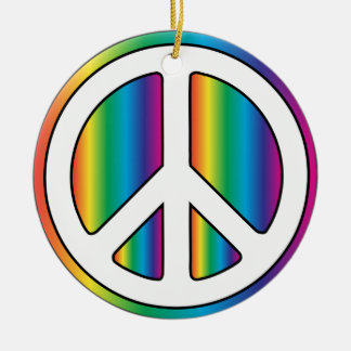 Rainbow Peace! Ceramic Ornament