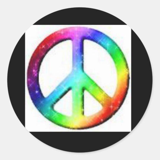 Rainbow peace classic round sticker