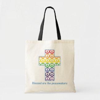 Rainbow Peace Cross Canvas Bags