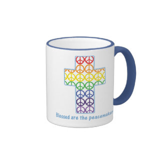 Rainbow Peace Cross Coffee Mugs