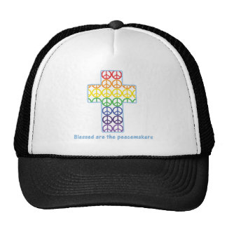 Rainbow Peace Cross Mesh Hats