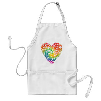 Rainbow Peace Heart Adult Apron