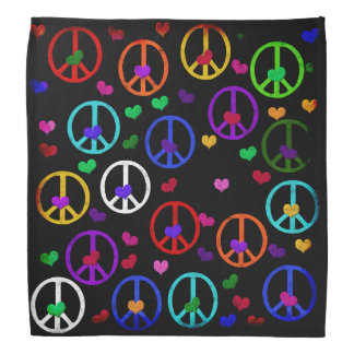 Rainbow Peace Hearts Bandana