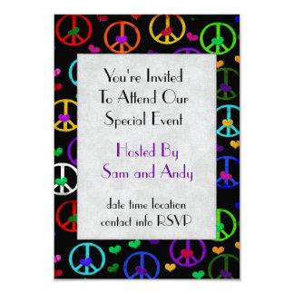 Rainbow Peace Hearts Card