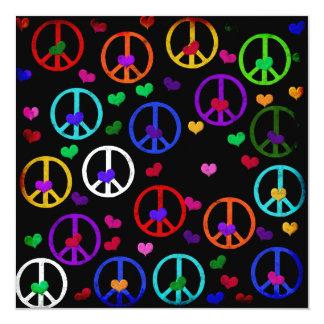 Rainbow Peace Hearts 5.25x5.25 Square Paper Invitation Card