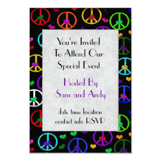 Rainbow Peace Hearts 3.5x5 Paper Invitation Card