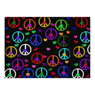 Rainbow Peace Hearts 5x7 Paper Invitation Card
