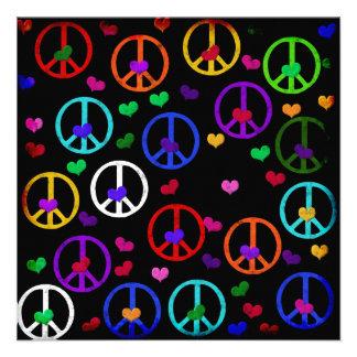 Rainbow Peace Hearts Invites