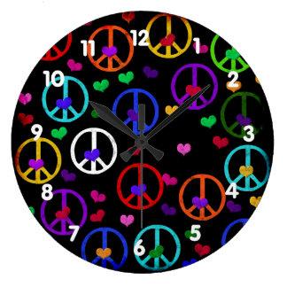 Rainbow Peace Hearts Large Clock