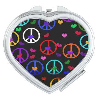 Rainbow Peace Hearts Makeup Mirrors