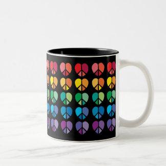 Rainbow Peace Hearts Mug