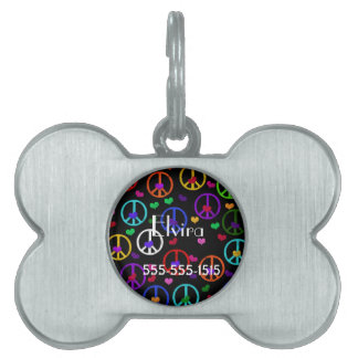 Rainbow Peace Hearts Pet Name Tag