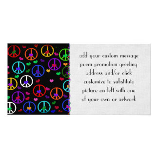 Rainbow Peace Hearts Picture Card