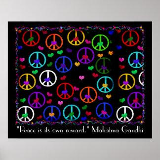 Rainbow Peace Hearts Poster
