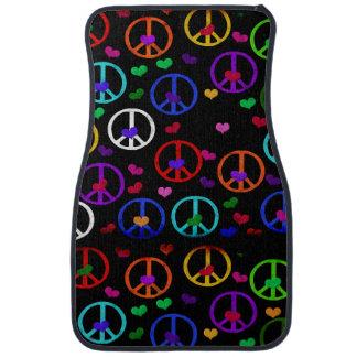 Rainbow Peace Hearts Floor Mat