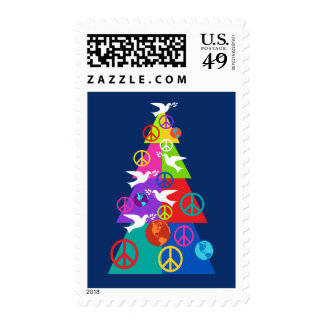 Rainbow Peace Holiday Tree Postage