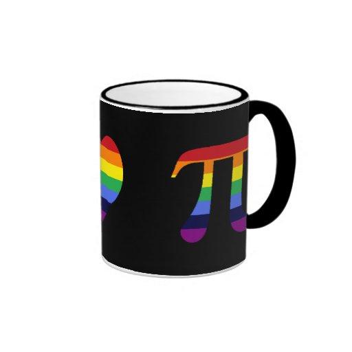 rainbow peace love pi ringer mug