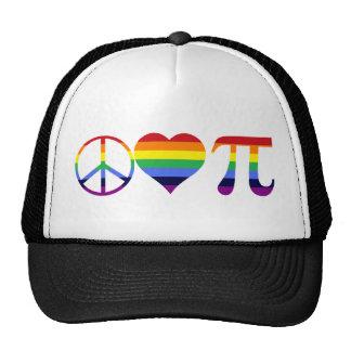rainbow peace love pi trucker hat