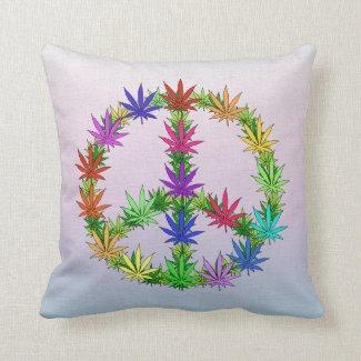 Rainbow Peace Marijuana Leaf Art Pillows