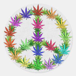 Rainbow Peace Marijuana Leaf Art Stickers