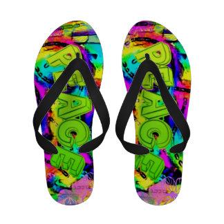 Rainbow Peace message designer flip flops