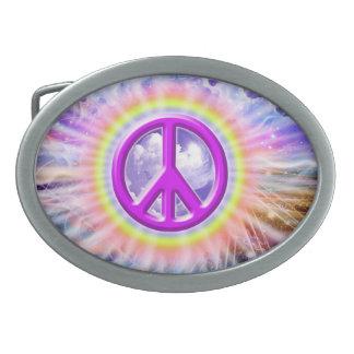 Rainbow Peace Oval Belt Buckle