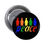 Rainbow Peace Penguins Button