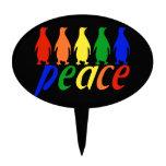 Rainbow Peace Penguins Cake Picks