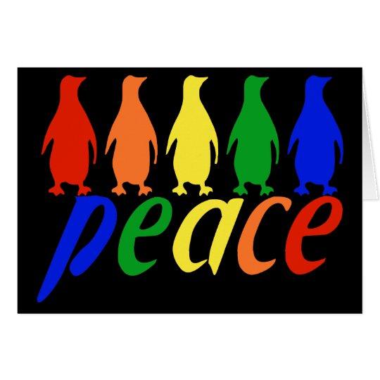 Rainbow Peace Penguins Card