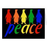 Rainbow Peace Penguins Greeting Card