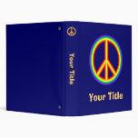 Rainbow Peace Sign 3 Ring Binder